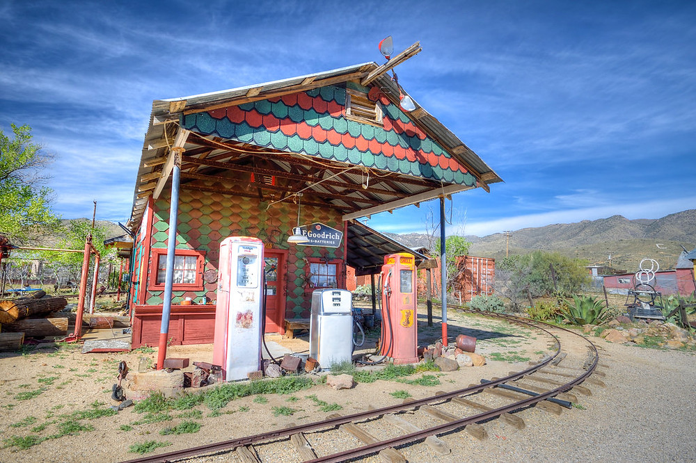 Colorful abandoned gas station in Arizona.