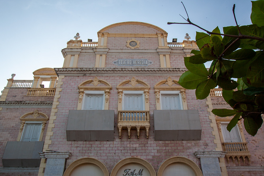 Historic pink building in the old city of Cartagena, Colombia
