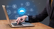 Businessman hand typing with cloud techn