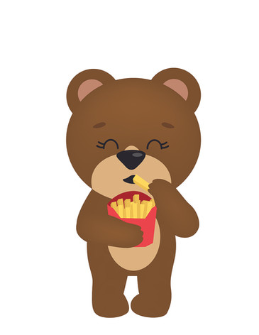 Cute bear and french fries