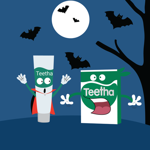 Teetha Gel characters in Halloween costume