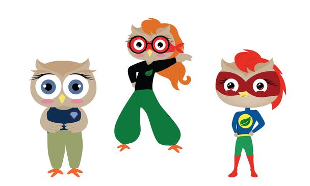 Cute owl superwoman