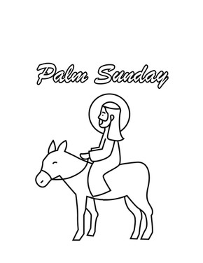 Jesus and Donkey Palm Sunday Coloring Page