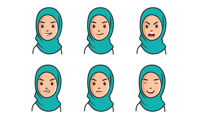 Woman with expressions