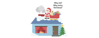 Santa Funny Character with home background