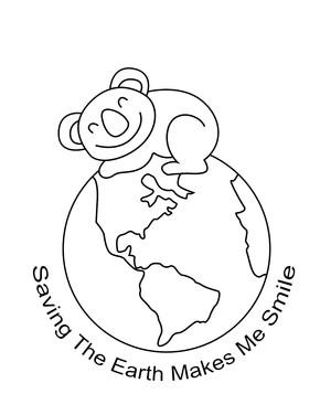 Smiling Koala Saving Earth Day