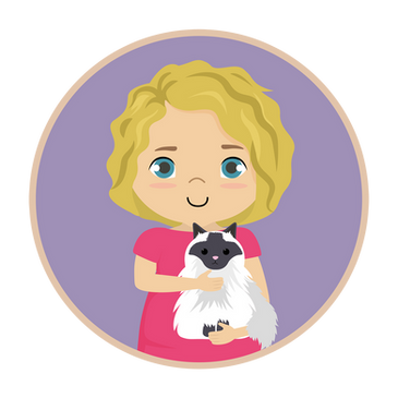 Little girl and cat logo