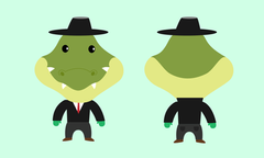 Alligator in suit