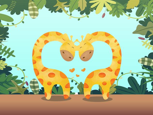 Cute giraffe couple