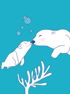 Mom and son polar bears
