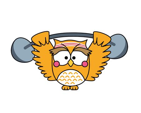 Owl and a dumbbell