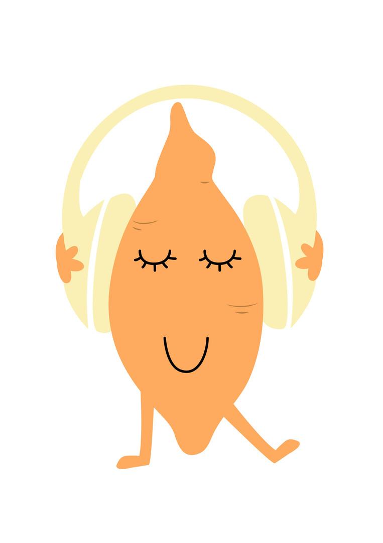 Yam listening to music