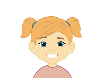 Cute happy girl with pig tails