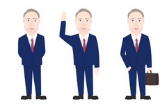 Man in suits with multiple poses