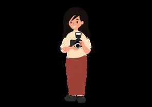 Cute woman photographer