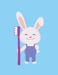 Cute smile bunny with a toothbrush
