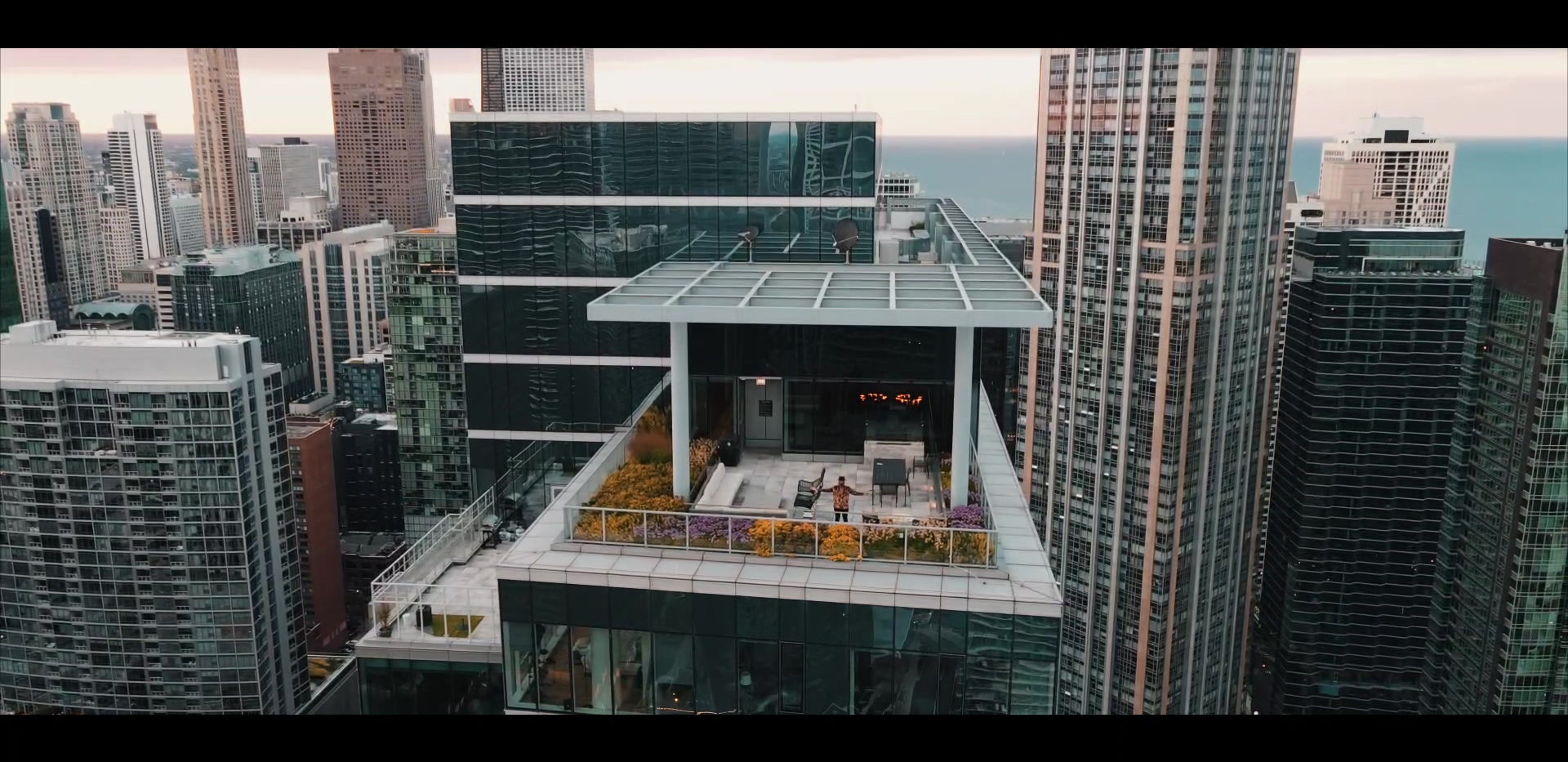 Downtown Chicago drone shot