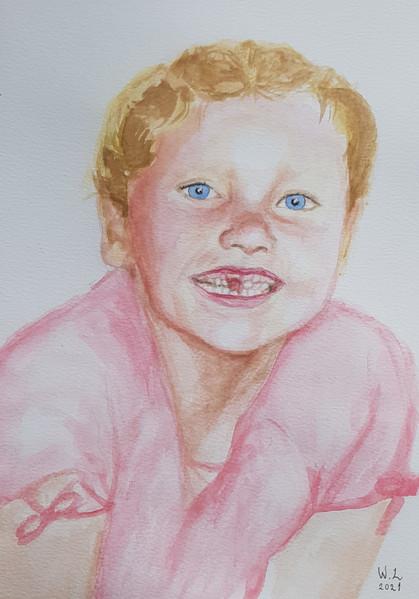 Ett akvarellle porträtt av mig själv i 7 årsåldern. Med glugg och solblekt hår.