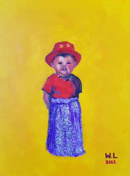 Inspirationen till denna målning är en bild från min barndom då jag och min lillebror har klätt ut oss. Oskar som min bror heter, påminner om en liten, underbar tant.