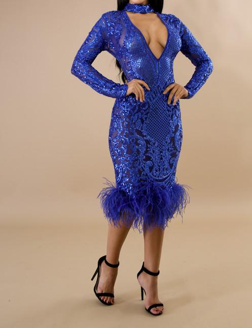230c7dd8 Feathers Sequin Choker Mermaid Dress