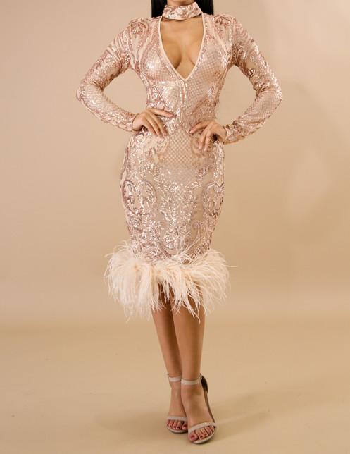 05ba3cde This feathers sequin choker mermaid dress ...