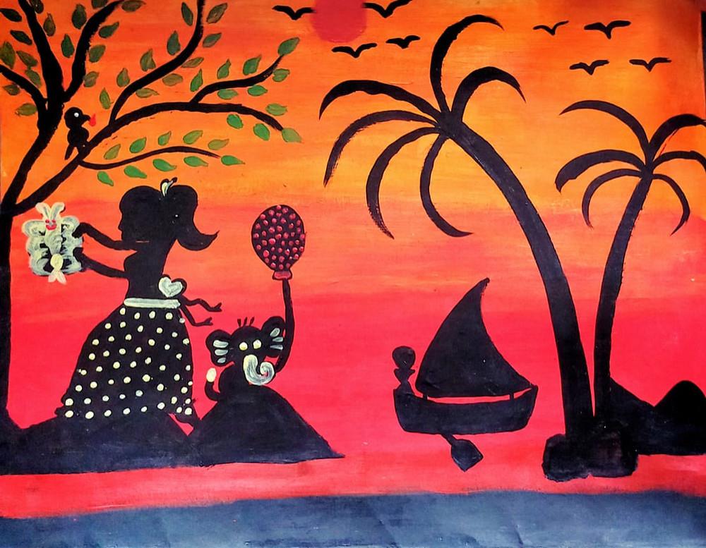 SOFKIN Child art trees women and sailboar