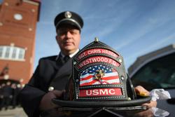 Fire helmet honoring Sgt. Hrbek.