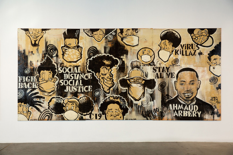 """Lionel Milton, """"Social Distance Social Justice,"""" 2020. Unframed, mixed media on plywood. Photo by Mariana Sheppard"""