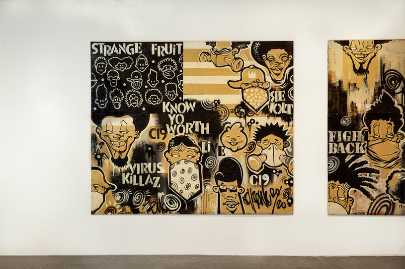 """Lionel Milton, """"Strange Fruit,"""" 2020. Unframed, mixed media on plywood, 8 ft. x 7.5 ft. Photo by Mariana Sheppard"""