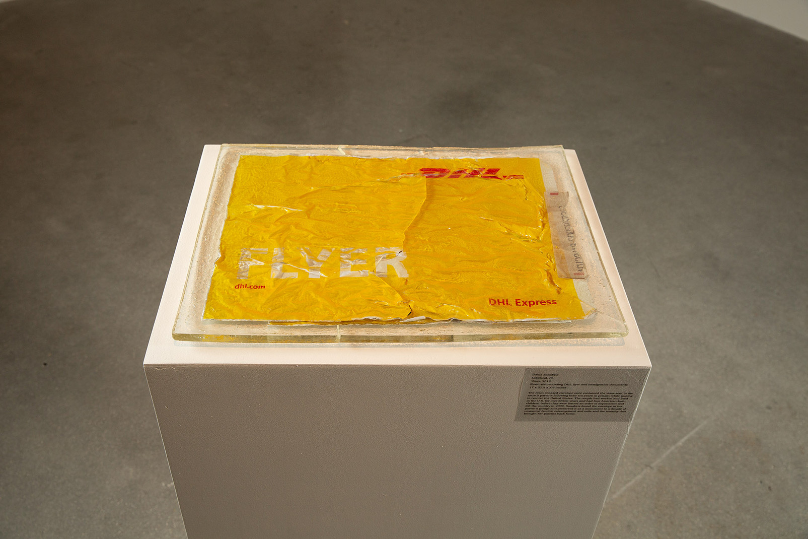 "Dalila Sanabria, ""Visas,"" 2019. Resin slab of DHL flyers, unframed, 17 x 21.75 x 0.5 in. Photo by Mariana Sheppard"