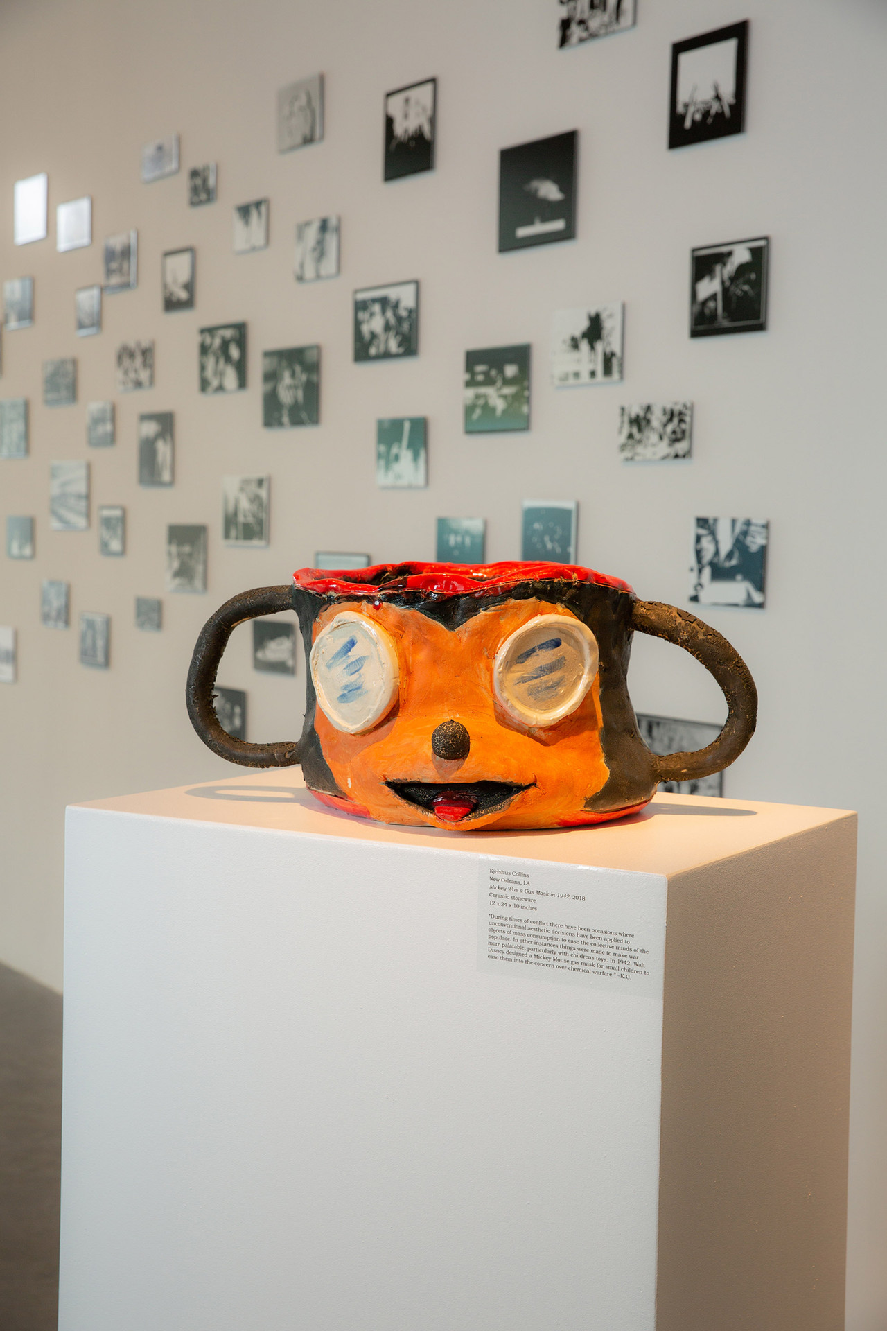 """Kjelshus Collins, """"Mickey Was a Gas Mask in 1942."""" Ceramic stoneware, 12"""" x 24"""" x 10,"""" 10 lbs. Photo by Mariana Sheppard"""