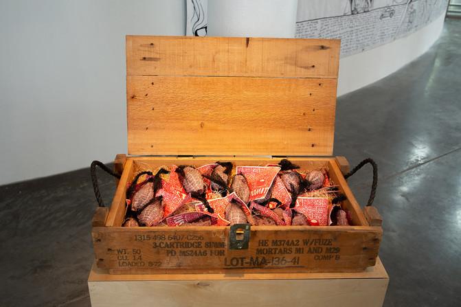 "Kjelshus Collins, ""JUST POM IT,"" 2018. Slip cast, sgraffito ceramics, linocut print, mesh, aspen excelsior, wooden crate, 26"" x 6"" x 13"", 20 lbs. Photo by Mariana Sheppard"