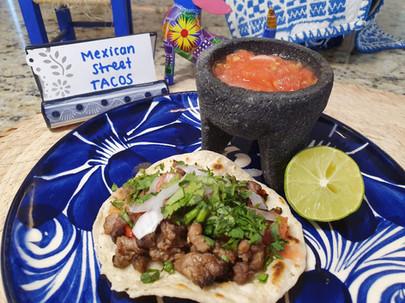 "Street Taco ""alambre"", hand-made tortilla, red salsa"