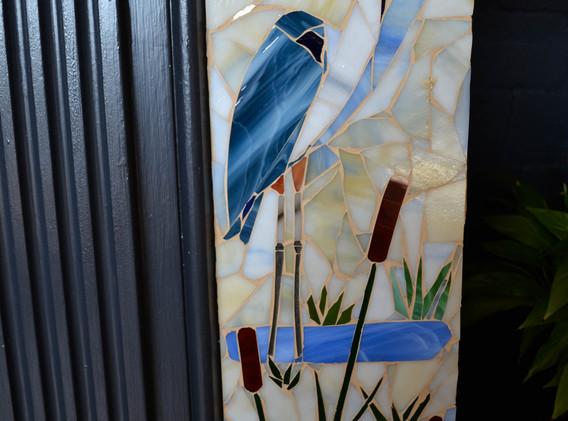 Close-up left side great blue heron