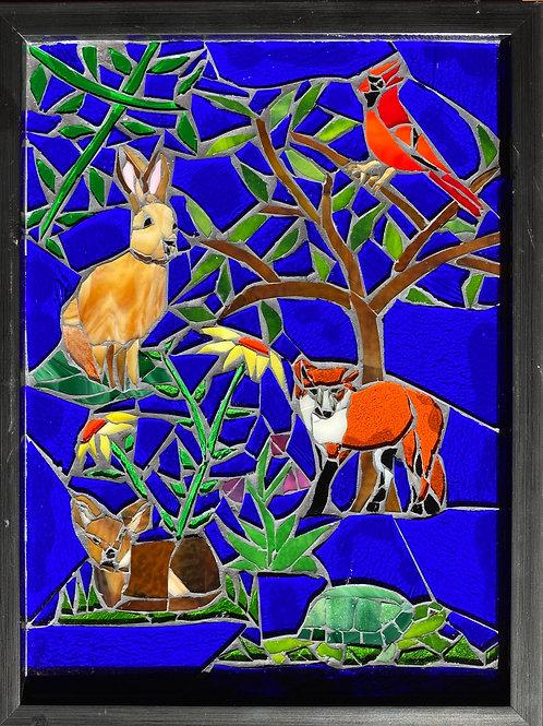 Forest Critters Glass Mosaic Art