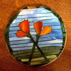 mosaic poppy trivet