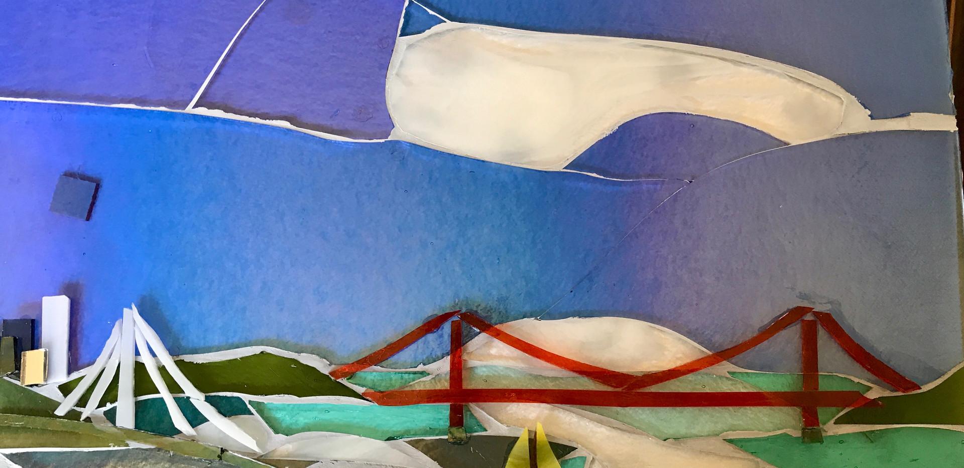 Closeup, Bay and Golden Gate Bridges