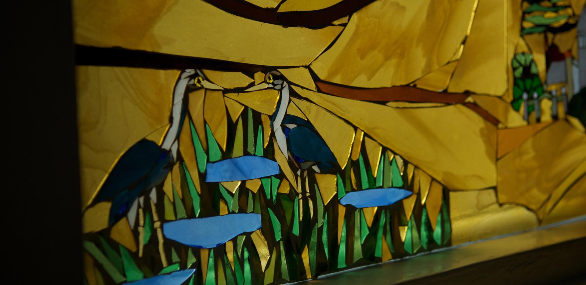 Closeup, great blue herons