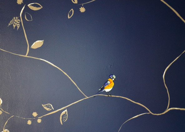Closeup of Entryway bird mural