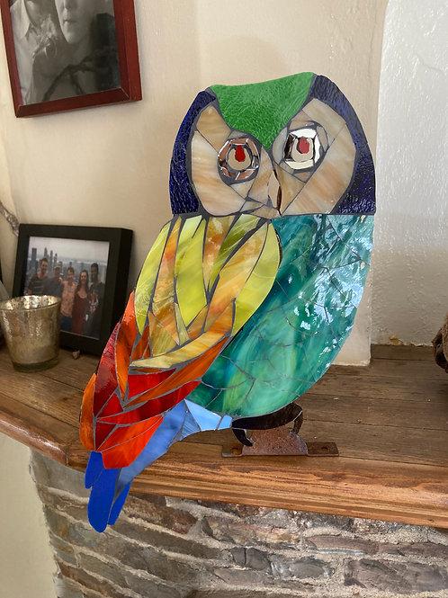 Colorful metal mosaic owl