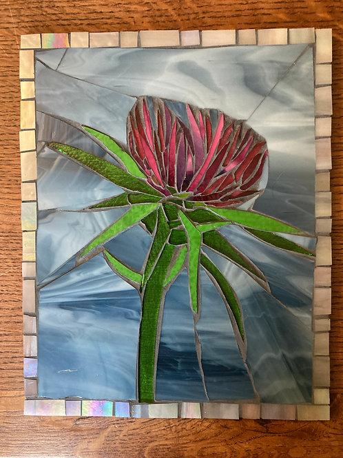 Thistle Flower Glass Mosaic Art