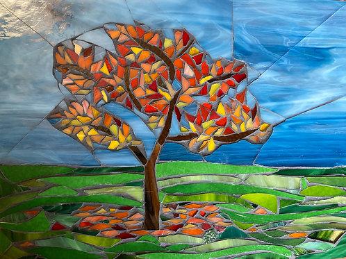 Autumn Leaves Glass Mosaic Art