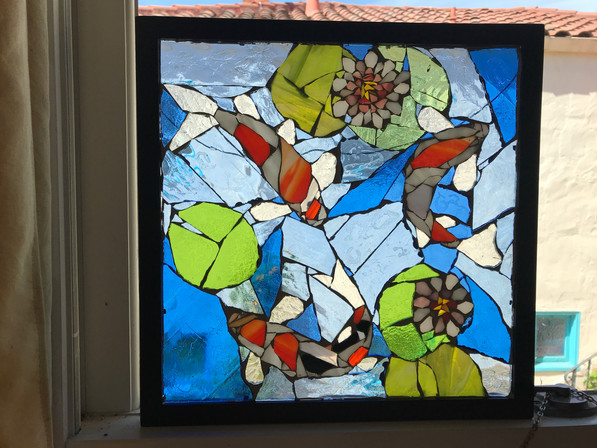 Stained glass koi