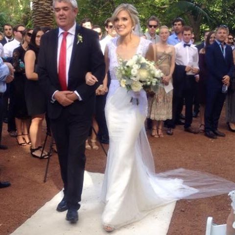 My gorgeous Stacie in her custom gown yesterday with her Father