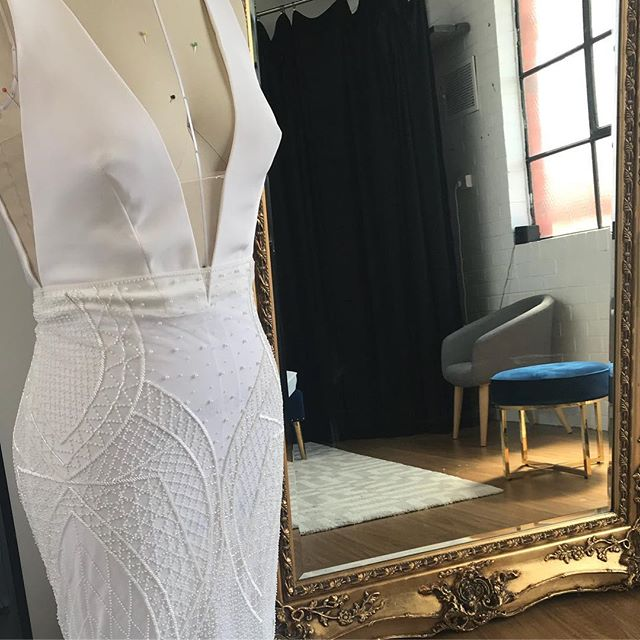 O B S E S S E D ! Our stunning Milan Gown zz Beaded Lace working her magic on a Blanc canvas Info_ma