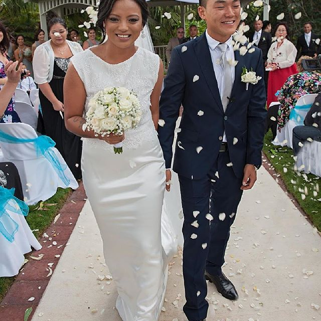 This stunning bride was married in in her custom made French beaded lace crop in our Selena silk ski