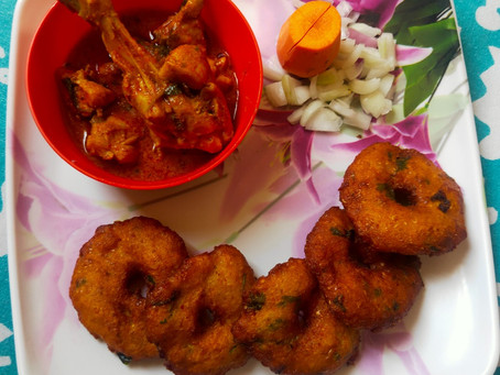 Telangana Traditional Corn Vada with Country Chicken curry - Sunday Brunch