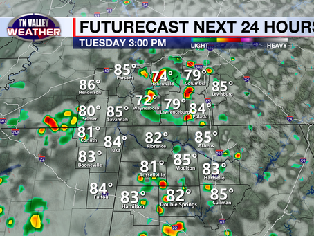 Sun and clouds today.  Rain chances increase through the rest of the week.