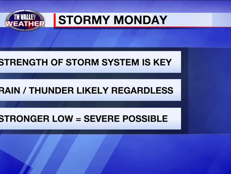 Stormy weather pattern by Monday.  Details unclear, but can't rule out a severe weather risk.