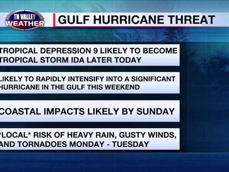 """TD 9 about to become """"Ida"""".  Potentially serious Gulf hurricane threat and possible local impacts."""